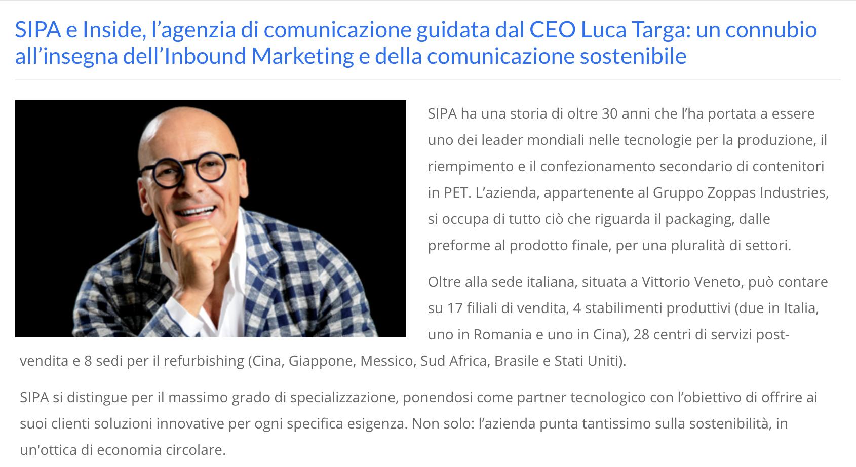 SIPA e Inside, l'agenzia di comunicazione guidata dal CEO Luca Targa: un connubio all'insegna dell'Inbound Marketing e della comunicazione sostenibile